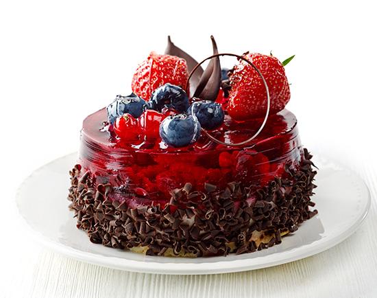 gelatina de frutos rojos con chocolate