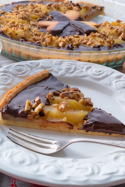 tarta de peras y chocolate