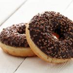 Fresh tasty donuts with chocolate glaze