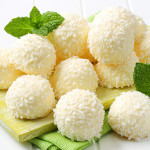 White chocolate snowball truffles rolled in coconut