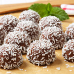 No-bake chocolate snowball cookies rolled in coconut